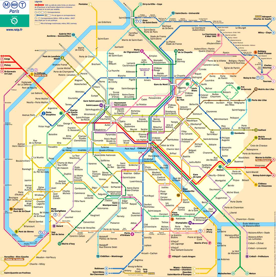 Paris-Metro-Karte-Plan Map Verbindungen